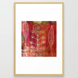 Tree of Life with Floating Leaves Framed Art Print