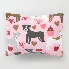 Pitbull dog breed love valentines day cupcakes hearts dog breeds pibble gifts Pillow Sham