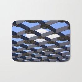 Geometric Shapes Blue Grey White Bath Mat