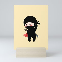 Tiny Ninja Holding Origami Heart Mini Art Print