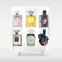 perfume Shower Curtains featuring Perfume Collection by Celine Strömbäck