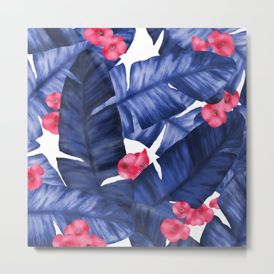 Tropical Banana Leaves With Flower Pattern Metal Print