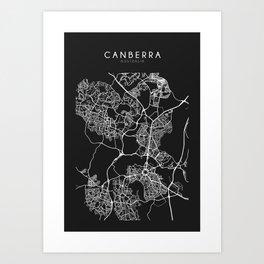 Canberra, Australia Street Map Art Print