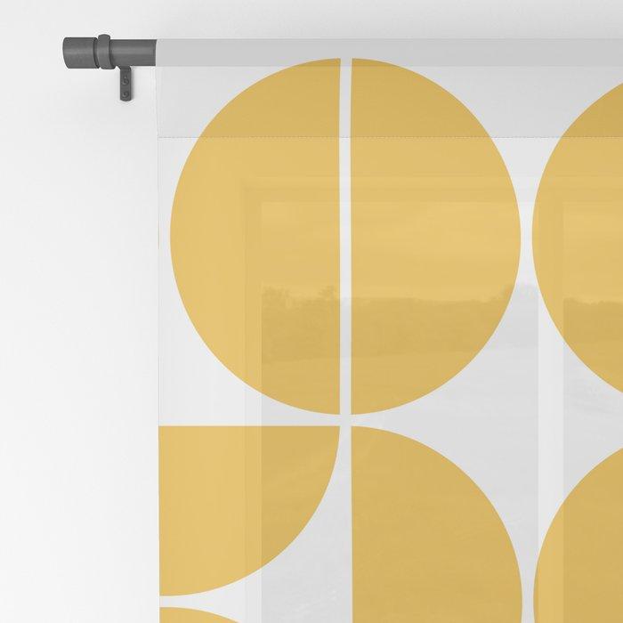 Mid Century Modern Geometric 04 Yellow Sheer Curtain