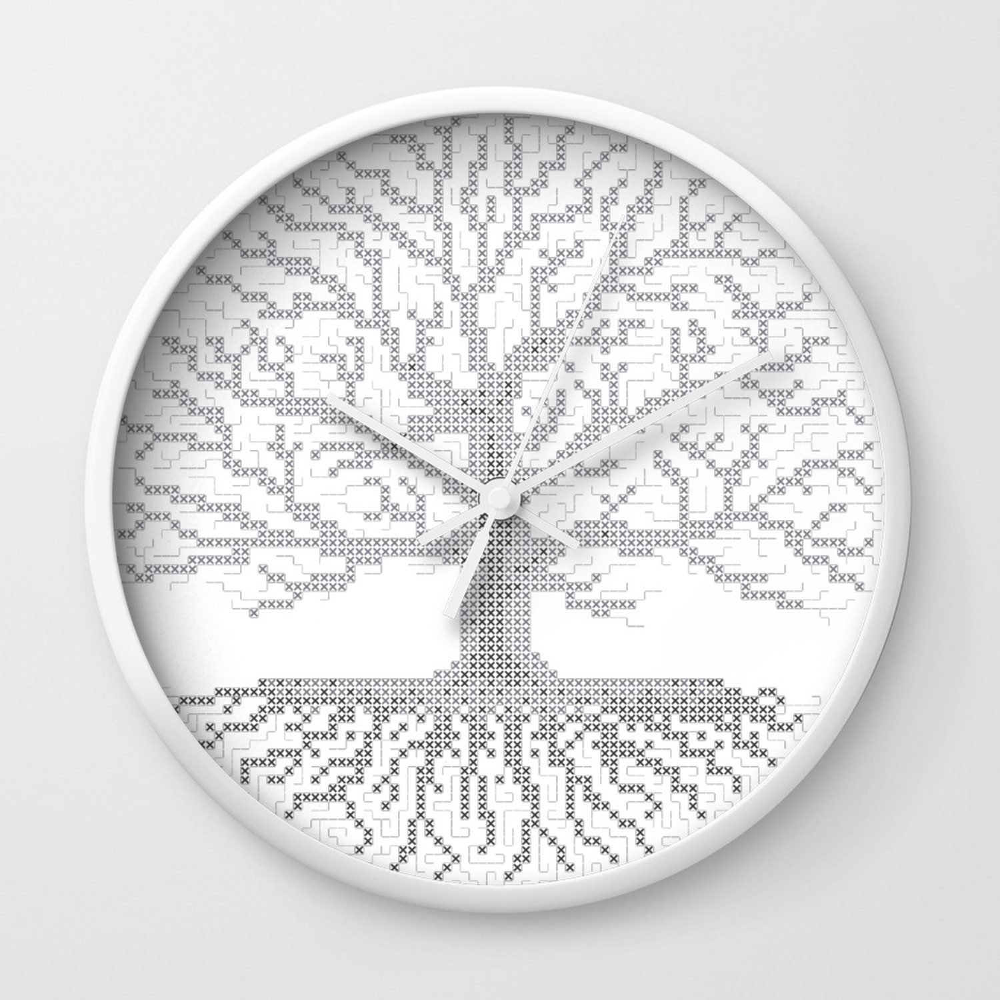 Pixel Art Cross Stitch Chart Grey Tree Of Life Wall Clock By Madzakkagraphics Society6