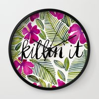 tropical Wall Clocks featuring Killin' It – Tropical Pink by Cat Coquillette