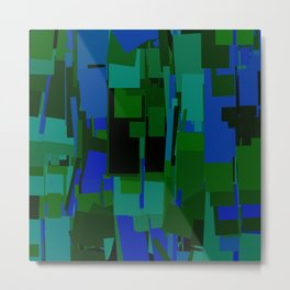 Abstract Cityscape Greens & Blues Metal Print