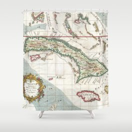 Vintage Map of Cuba and Jamaica (1763) Shower Curtain