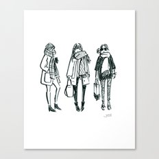 Brush Pen Fashion Illustration - East Coast Girls Canvas Print
