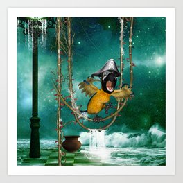Funny pirate parrot with hat Art Print