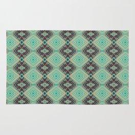 Subway Tracks Kaleidoscope Geometric Pattern - Mint Chocolate Colors Rug