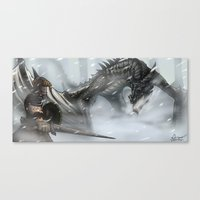 skyrim Canvas Prints featuring Skyrim by Alex Trinidad Art