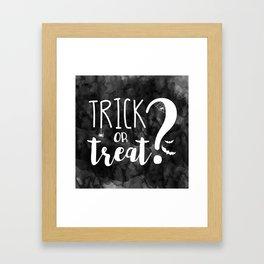 Trick Or Treat? | Black And White Framed Art Print