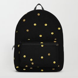 Gold Confetti on Black Backpack