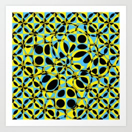yellow blue circle pattern Art Print