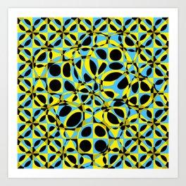 yellow blue circle pattern Art Print