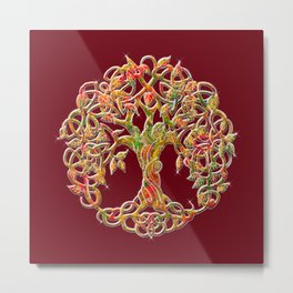 Tree of Life Maroon Metal Print