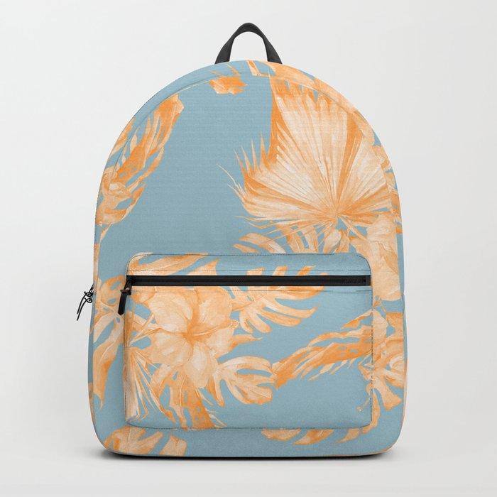 Hawaiian Hibiscus Palm Deep Orange Sky Blue Backpack