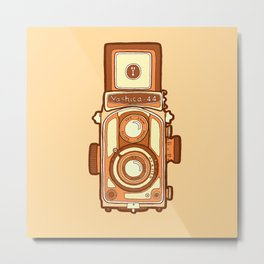 Vintage camera orange Metal Print