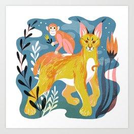 Monkey and Caracal Art Print