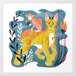 Monkey and Caracal Art Print