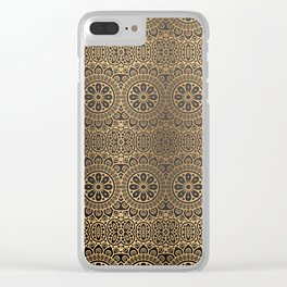 Abstract Vintage Floral Gold V3 Clear iPhone Case