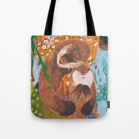 "otters Tote Bags featuring ""If Klimt Painted Otters"" Transformation Project Final Transformation by Janin Wise"