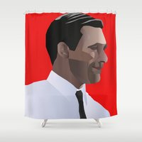 mad men Shower Curtains featuring Mad Men star Don Draper by LaRochelle Designs