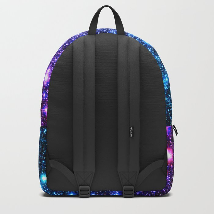 Glitter Galaxy Stars : Turquoise Blue Purple Hot Pink Ombre Backpack