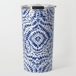 Indigo Blue Tie Dye Textile Pattern Travel Mug