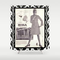 newspaper Shower Curtains featuring 1970s Fashion - A Page from Biba Newspaper by London Days