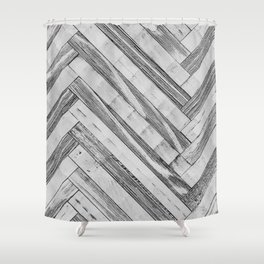 Vintage Diagonal Design //Black and White Wood Accent Decoration Hand Scraped Design Shower Curtain