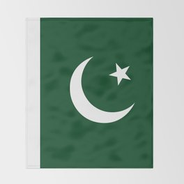 The National Flag of Pakistan - Authentic Version Throw Blanket