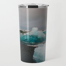 Sunset at the Glacier Lagoon in Iceland Travel Mug