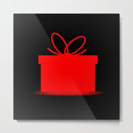 Present In A Red Box Metal Print
