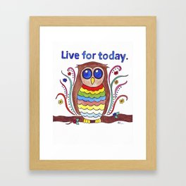 Live for Today Watercolour Psychedelic Owl Framed Art Print