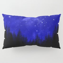 Blue Galaxy Forest Night Sky Pillow Sham