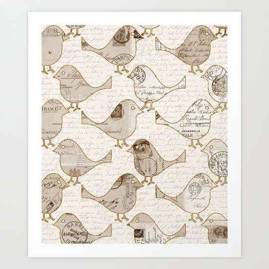 old letter pattern vintage birds art Art Print