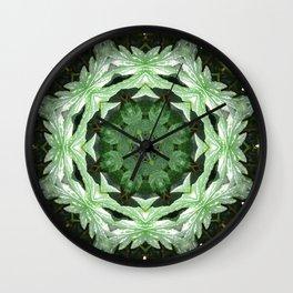 Tropical Twist - Green Leaves Kaleidoscope, Mandala Wall Clock