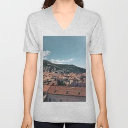 Dubrovnik Old Town Roofs   Croatia Travel Photography Unisex V-Neck