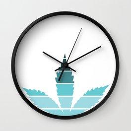 Marijuana Leaf Vintage Retro Sunset Inspired Design graphic Wall Clock