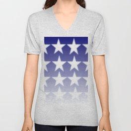 Blue and White Stars, Blue Faded Background With White Stars Unisex V-Neck