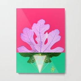 Fig Leaf Diamond Christmas Half and Half Metal Print
