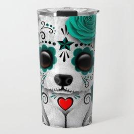 Teal Blue Day of the Dead Sugar Skull Polar Bear Travel Mug