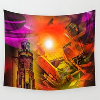romance Wall Tapestries featuring Lighthouse romance by Walter Zettl