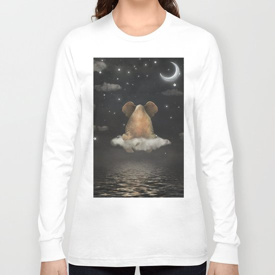 Sad elephant sitting on cloud in  night sky  Long Sleeve T-shirt