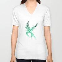 mockingjay V-neck T-shirts featuring Mockingjay 2 by AliyaStorm