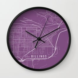 Billings Map, USA - Purple Wall Clock