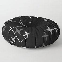 Mid Century Modern Stars (Black) Floor Pillow