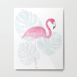 Tropical Flamingo Print Metal Print